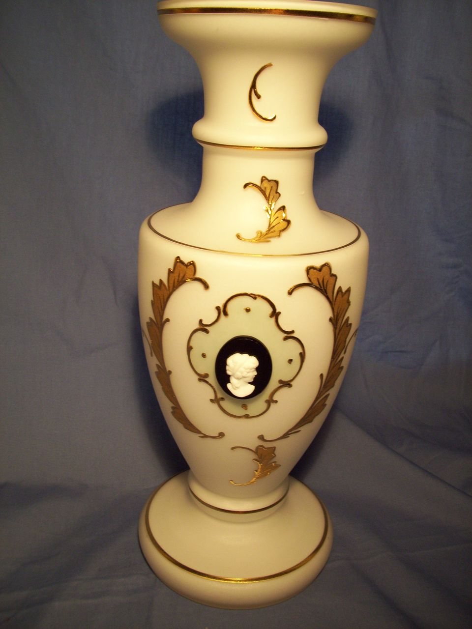 "12"" Bohemian Glass Vase with Cameo c. 1910"