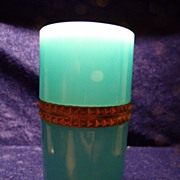 Cenedese Blue Opaline Glass & Gilt Casket or Humidor
