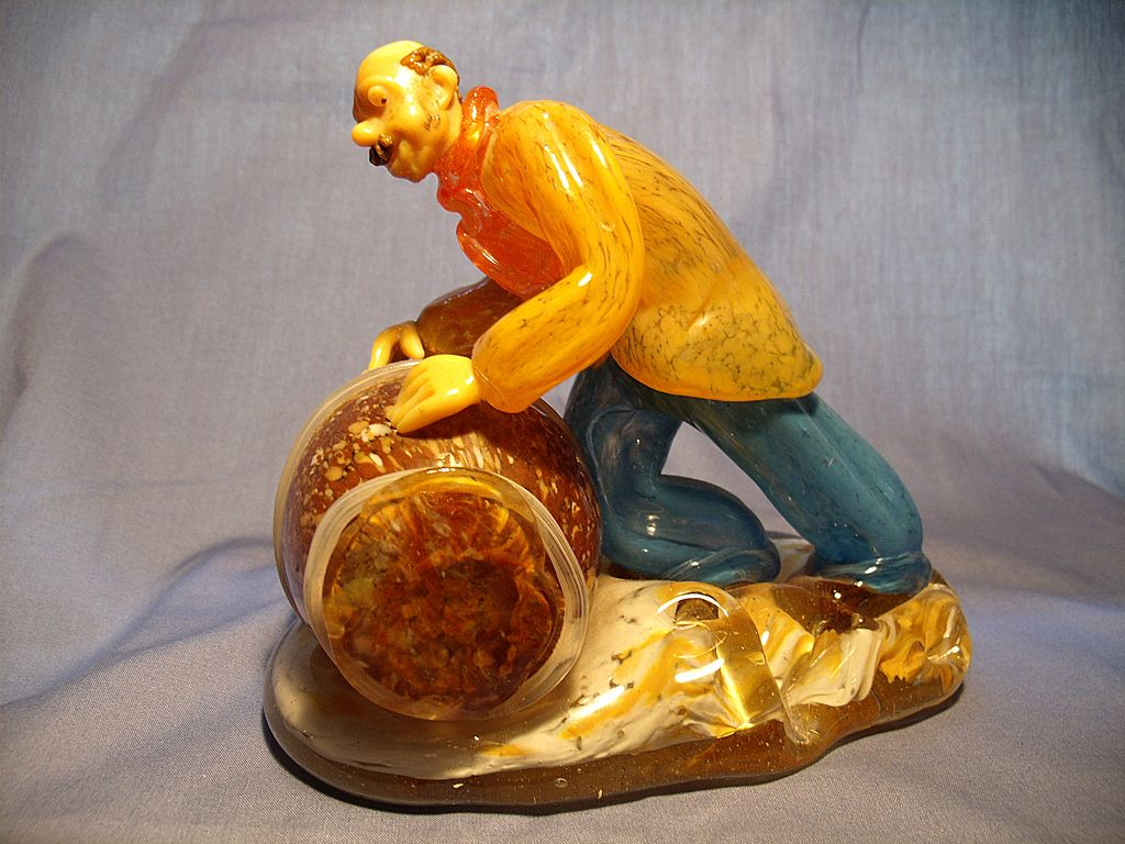 Vintage Bohemian Glass Barrel Man