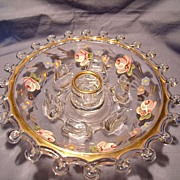Heisey Lariat  Charlton Decorated Hurricane/Candle  Base