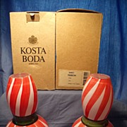 Pair of Kosta Boda Ulrica Vallien-Hydman Ribbon Vases MIB