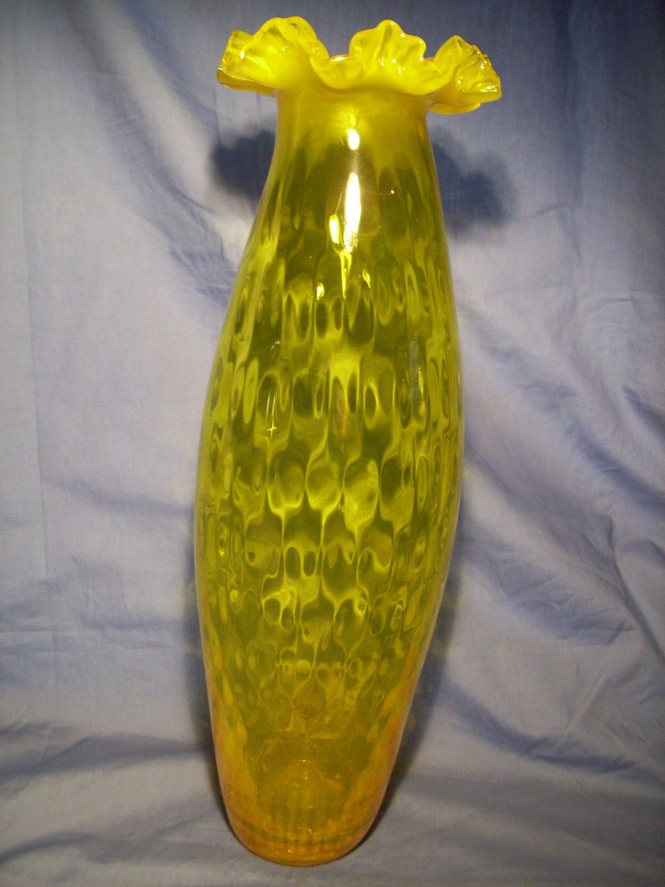 Tall Mid Century Italian Diamond Optic Vase