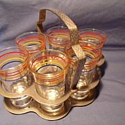 Set of 6 Depression  Shot glasses in a Chrome Holder