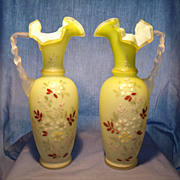 Pair Decorated Bristol Glass Handled Vases