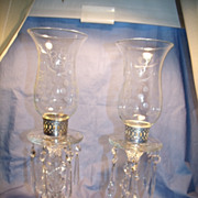 Pr Vintage Glass Candle Lamps