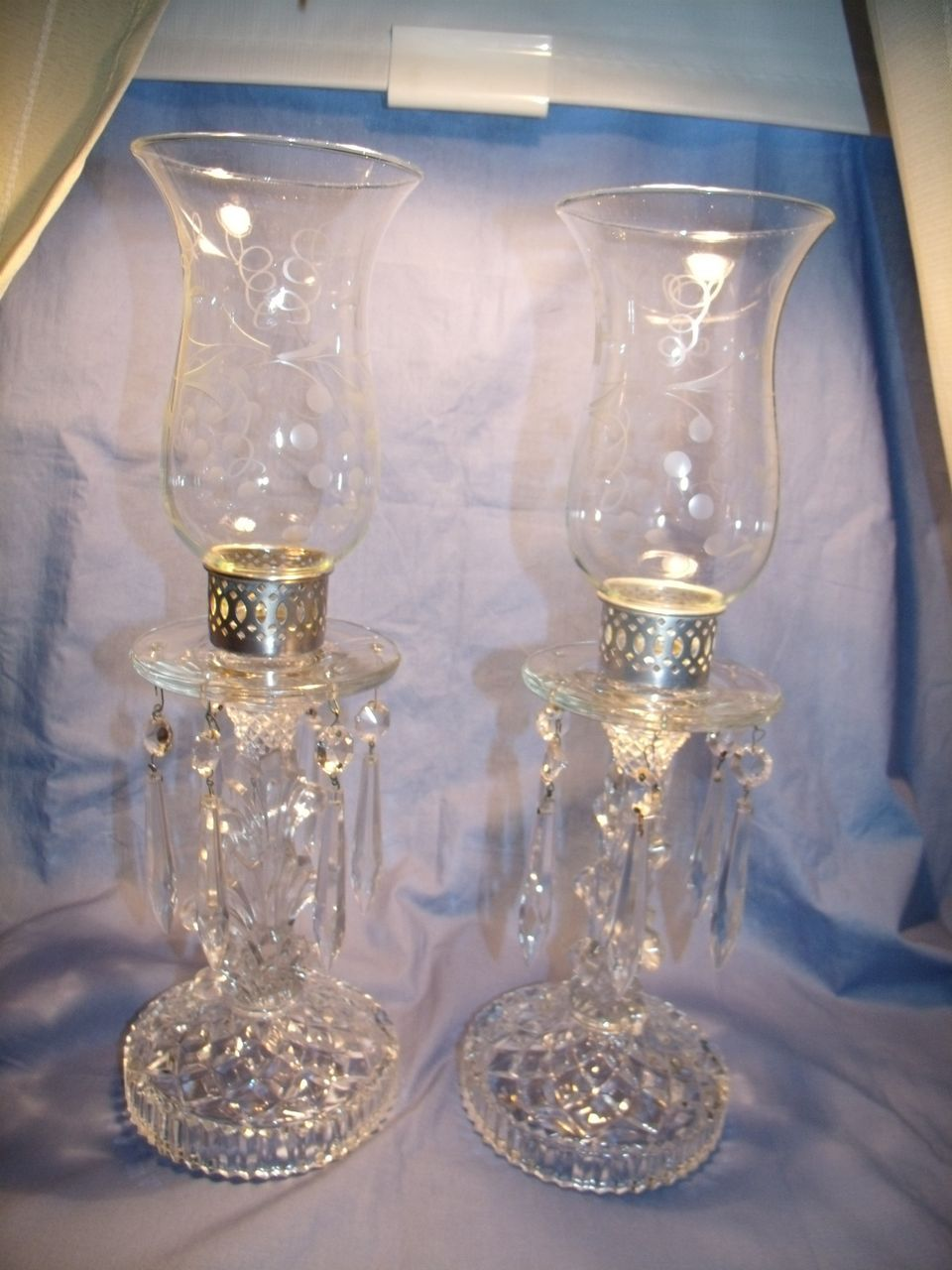Pr Vintage Glass Candle Lamps From Glassalley On Ruby Lane