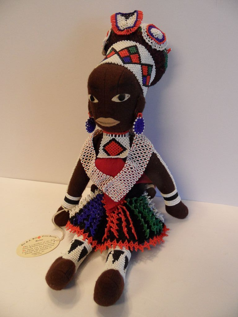 1950 S Zulu Handmade Beaded Durban S African Doll With