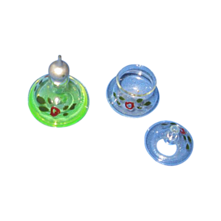 German Blown Glass Miniature Perfume and Powder Jar