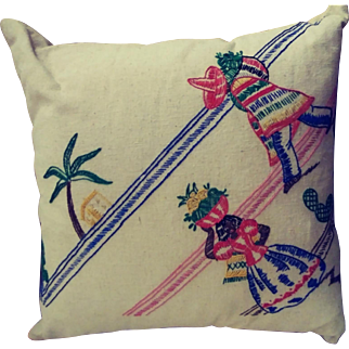 Down Filled Pillow Made With A Vintage Textile