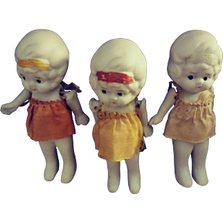 Three Little All Bisque Girls.  Made in Japan.