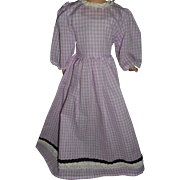 Vintage Gingham Check Dress For Paper Mache and China Dolls