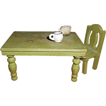 Vintage Green Wooden Doll House Farmhouse Table and Chair Free Shipping