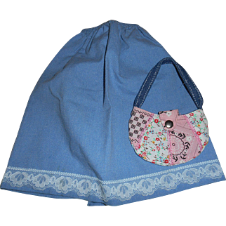 Vintage Blue Cotton Skirt and Quilted Purse Free Shipping