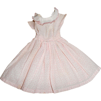 Vintage Pale Pink  Cotton Dress Free Shipping