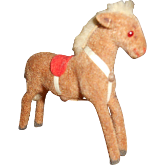 Miniature Flocked Horse  Doll Friend With Monkey Face Label