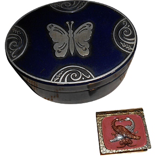 Tin Trinket Box Embossed Butterfly Lid And  Gold Colored Pill Box Miniatures