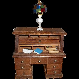 Vintage Wood Roll Top Desk Lamp 2 Books 2 Packages