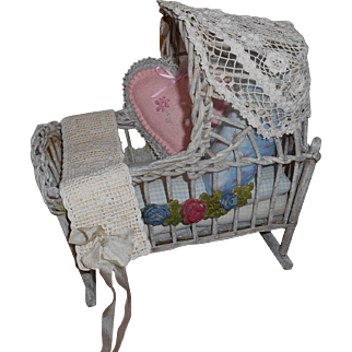 Wood And Wicker Primitive Doll Cradle Handmade Painted Clay Garland 1900's With Bedding