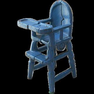 Kilgore Blue Cast Iron High Chair 1920's-1930's