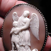 Wonderful rare guardian angel cameo-child and snake