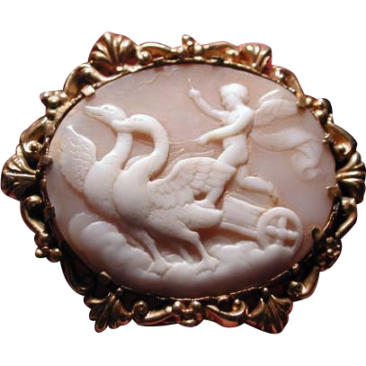 Rare cameo of Cupid being led by swans
