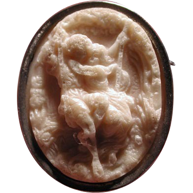 Rare cameo of pair on a swing from the caves of France