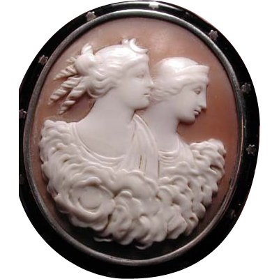 Wonderful cameo of Diana and Hera with enamelled frame