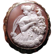 Museum quality carved cameo of Flora