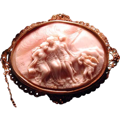 Unique cameo of 3 women with a cherub