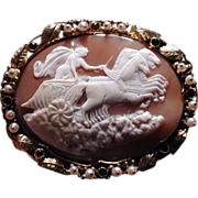 Large cameo of Eos the Goddess of the dawn with jewelled frame