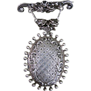 Huge sterling silver locket pin