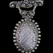 Huge sterling silver locket pin