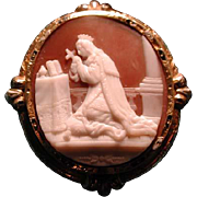 Rare enamelled cameo of saint praying