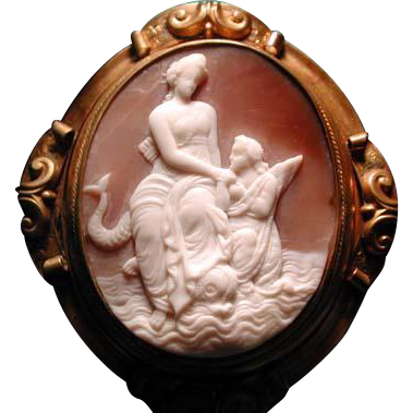 Rare cameo of Venus with dolphin and cherub