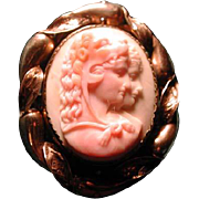 Pink conch cameo of Hercules and Omphale with locket back