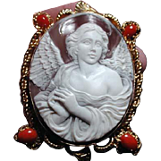 Fabulous angel  cameo with red coral