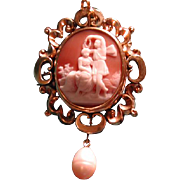 Psyche and Eros cameo with pearl strand