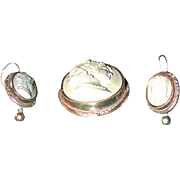 Grand Tour lava Flora cameo with earrings