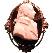 Huge cameo man with hair woven on back