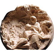Wonderful large cameo Meerchaum plaque with courting couple
