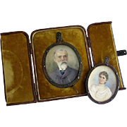 Husband and wife miniature Art and Crafts frame from 1899 by listed artist Olivia Hammond