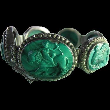 Rare malachite cameo bracelet