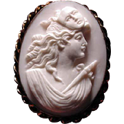 Rare pink cameo of the Muse of Tragedy