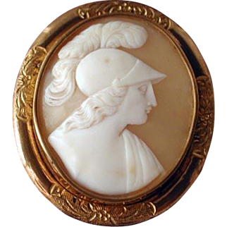 Cameo of plumed warriuor