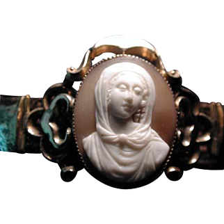 Woven hair bracelet with lovely Madonna cameo
