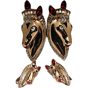 Rare Coro horse duet with earrings sterling