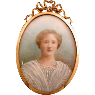 Hand painted lady in lace miniature portrait