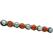 Lovely coral and pearl bar pin-14 kt