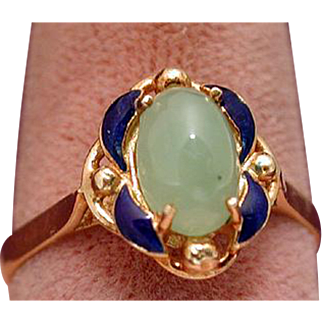 Enamel and jade ring 18 kt gold
