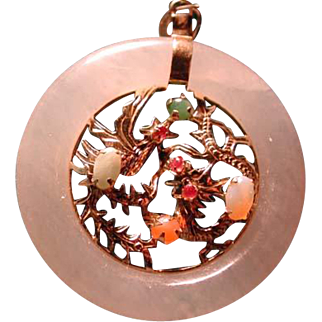 Jade pendant ring with Phoenix and dragon and stones